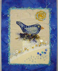 Fiber Art Bluebird on Nest