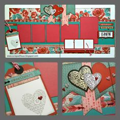 Scrap with Sue: February Club Layout Kit - Heartstrings layouts