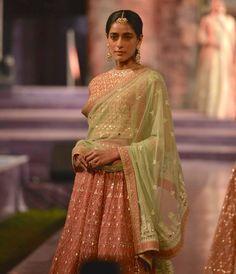 Peach gota patti lehenga with pastel green dupatta - Anita Dongre - Make in India 2016