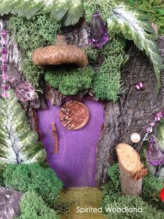 Fairy Door With Amethyst Cluster Accent by SpiritedWoodland