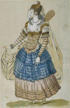 "Costume by Iñigo Jones for the masque ""Oberon the Faery Prince"" in 1611."