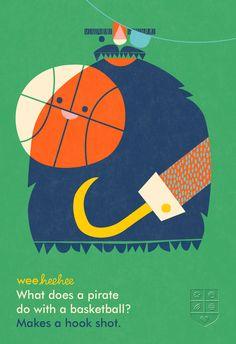 有趣的双关:钩子船长勾手投篮。 What does a pirate do with a basketball? #WeeHeeHee #KidJokes