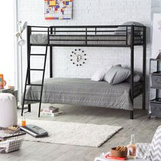 Twin Over Bunk Bed In Black Metal Finish With Ladder And Safety Rails