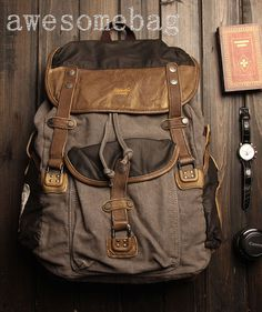 Genuine Cow leather backpack Hobo bag canvas by AWESOMEBAG on Etsy, $89.99