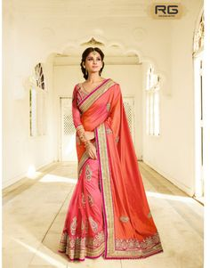 Pink And Orange colour Chiffon Saree In Double Colour With Zari Embroidery Work And Moti Work|| Pink And Orange Chiffon Saree In Double Colour With Gota Zari Threads On Border Of The Saree And Threads Moti Embroidery All Over Saree And Heavy Lace On The Bottom Of The Saree Along With Heavy Designer Pink Colour Net Blouse. || RG Designers