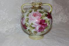Antique Nippon Bud Vase Urn 2 Handle Jar Moriage Gold Design Floral Hand Painted Pink Roses Maple Left Stamp 1891-1921 by TresorsEnchantes on Etsy