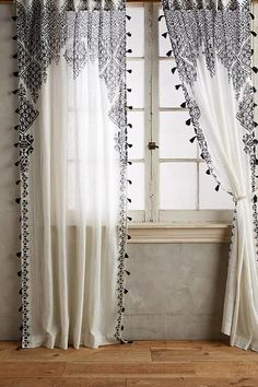 Blinds And Curtains Together Anthropologie.Curtains Drapes And Window Coverings Crate And Barrel. Home Design Ideas Lace Curtains, Curtains Living Room, Home Furnishings, Diy Home Decor, Window Coverings, Apartment Decor, Tassel Curtains, Curtain Decor, Bohemian Curtains