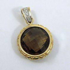 Two Tone Smoky Topaz & Diamond Pendant. $350