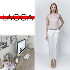 It's hard to stay elegant in the office in the summer heat, but LACCA knows the answer. Find your perfect summer toilette at our webstore Summer Heat, Your Perfect, Classic Elegance, Pastel Colors, Sleeveless Blouse, Going Out, Elegant, Storage, Pink