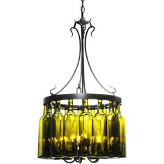 19 Inch W Tuscan Vineyard Villa 16 Wine Bottle Chandelier - Custom Made. 19 Inch W Tuscan Vineyard Villa 16 Wine Bottle ChandelierCapture the life of the party with the whimsical design of the Meyda Wine Bottle Chandelier. So much fun that you may want to hang from it, but don't! Liven up a restaurant, club or home with a chandelier that does so much more then deliver light; it adds personality and pizzazz. Sixteen Chardonnay bottles are suspended from a Black finished rim with five…