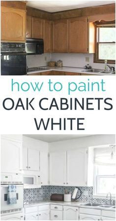 How to paint oak cabinets white. Step by step tutorial to help you get the absolute smoothest paint finish on your oak kitchen cabinets. Updating Oak Cabinets, Spray Paint Kitchen Cabinets, Painting Kitchen Cabinets White, Dark Kitchen Cabinets, Painting Cabinets, Refinished Kitchen Cabinets, Kitchen Backsplash, Honey Oak Cabinets, Kitchen Cabinet Remodel