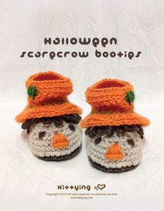 Halloween Slouch Scarecrow Baby Booties Crochet PATTERN by Kittying.com - HSB01-P-PAT - sizes 0-18 months