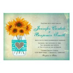 Rustic Country Mason Jar and Teal Lace Sunflower Wedding Invitations.  A cute lace and heart design on the front of the canning jar.  40% OFF when you order 100+ Invites.  Easy to edit template.  Mason Jar Wedding Ideas.  #wedding #masonjar #sunflowers