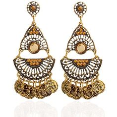 Artificial Gem Coins Bohemian Drop Earrings ($4.29) ❤ liked on Polyvore featuring jewelry, earrings, drop earrings, artificial jewellery, gemstone drop earrings, bohemian style earrings and boho jewelry