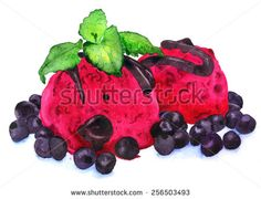 Pink ice cream with blackcurrant. Hand painted in watercolor - stock photo