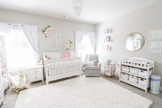 97 Cute Nursery Ideas For Your Baby Girl 36 - Nursery Rugs, Girl Nursery, Girl Room, Baby Bedroom, Girls Bedroom, Changing Table Organization, Nursery Organization, Floral Crib Sheet, Nursery Inspiration