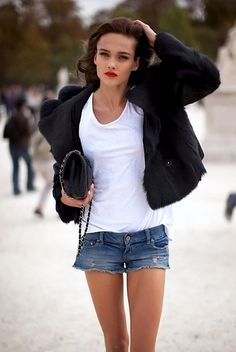 basic denim shorts, white tank, red lips and black jacket - easy and chic!