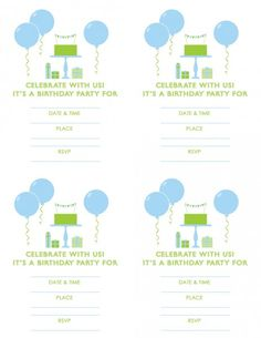 free printable boy birthday invitaiton blue green