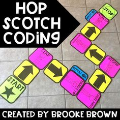 Hop Scotch Coding (Hour of Code) Interactive UNPLUGGED coding for Kindergarten, First grade, second grade, and third grade! Hour of Code Steam Activities, Science Activities, Activities For Kids, Camping Activities, Robot Games For Kids, Activity Ideas, Outdoor Activities, Computer Lab, Computer Science