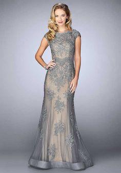 La Femme Evening 23059 Grey Mother Of The Bride Dress