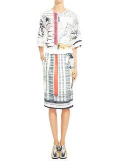 Printed short sleeve paper taffeta woven dropwaist dress