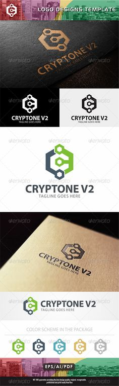Cryptone V2 Logo by bintank Thank you for purchase our designs. Feature: > 100 Vector Print Ready,CMYK> Editable Colors and Texts > Black and White Version
