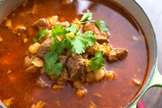 Slow Cooker Red Posole - Authentic Rojo Posole Soup Recipe with Pork and Hominy