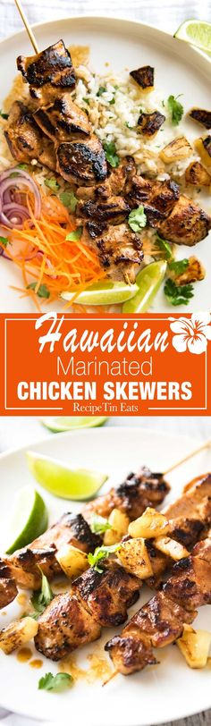 Hawaiian chicken marinated in a pineapple and coconut marinade that infuses with tropical flavours and tenderises. Skewer them as pictured, or cook whole chicken pieces. PERFECT for outdoor grilling, easy enough for a midweek meal!