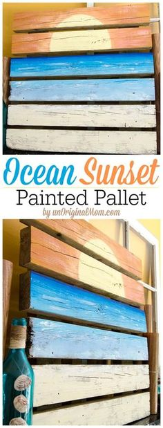 Ocean Sunset Painted Pallet Art and Summer Mantle 2019 A painted pallet by a non-artisteasy to do and great for a summer mantle display! The post Ocean Sunset Painted Pallet Art and Summer Mantle 2019 appeared first on Pallet ideas. Pallet Crafts, Diy Pallet Projects, Wood Crafts, Wood Projects, Pallet Ideas, Pallet Designs, Painted Pallet Art, Pallet Painting, Painted Mantle
