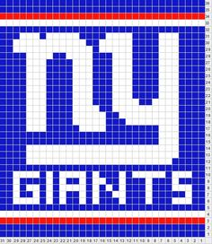 NY Giants logo stitch chart (crochet, knit, needlepoint, cross stitch)