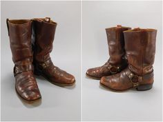 1960's Vintage Mens Brown Leather Square Toe Buckle Harness Boots by Sears, 10M #Frye #Motorcycle