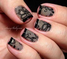 lace nail art 5 - 50+ Intricate Lace Nail Art Designs <3