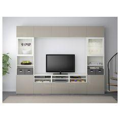 IKEA - BESTÅ TV storage combination/glass doors white, Selsviken high