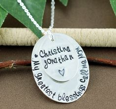 Personalized Mom Necklace, My Greatest Blessings Call me Mom, Hand Stamped Grandma Jewelry, Grandmother Necklace, Grandma Gift