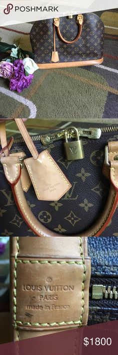Authentic Louis Vuitton monogram Alma MM bag❤️ Authentic Louis Vuitton monogram Alma MM bag❤️ comes with lock and key❤️ bag is used and does have signs of wear please see pics❤️ inside does have some stains❤️ made in France March 2011❤️ rolled leather handles ❤️ vachetta base and brass hardware❤️ inside 2 slip pockets ❤️ some patina on hardware Louis Vuitton Bags