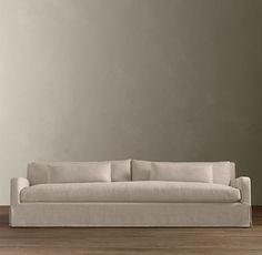 RH 10' $3200+, Belgian Slope Arm Slipcovered Sofa