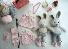 SO cute! United rabbits and their wardrobes. Links to patterns are on the page, to the right.
