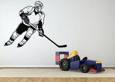 Wall Room Decor Art Vinyl Sticker Mural Decal Hockey Player Ice Skating AS1387