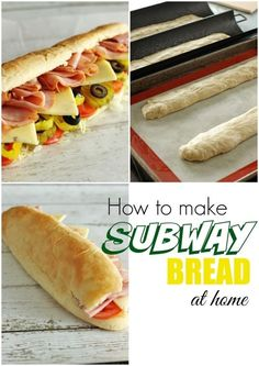 This subway bread recipe is so easy to make and tastes just as good (if not better) than Subway! It is soft and chewy, just how Subway bread should be! (Submarine Sandwich Recipes) Subway Bread, Bread Recipes, Baking Recipes, Chicken Recipes, Popular Recipes, Popular Food, Copykat Recipes, Easy Homemade Recipes, Suppers