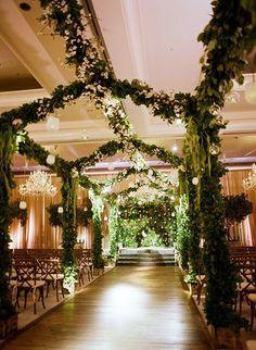 Indoor Garden Wedding in Atlanta, Pergola Wrapped in Greenery