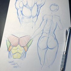 Anatomy Drawing Male Early morning practice - this is about shapes. You can use squares or cylinders but just look at your reference for a few minutes and start… - Male Figure Drawing, Human Drawing, Figure Drawing Reference, Anatomy Reference, Art Reference Poses, Figure Drawing Tutorial, Anatomy Sketches, Anatomy Drawing, Anatomy Art