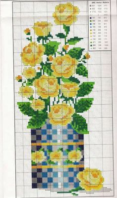 Counted Cross Stitch Patterns, Cross Stitch Charts, Cross Stitch Designs, Cross Stitch Embroidery, Cross Stitch Rose, Cross Stitch Flowers, Flower Painting Canvas, Flowers In Jars, Christmas Cross