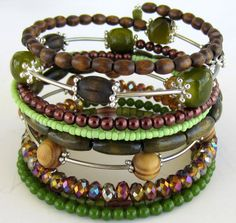 Wide Green and Brown Beaded Memory Wire Bracelet by JulepTulip
