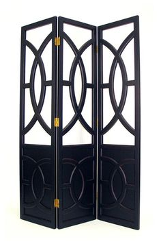 Florence 54 in. Tall Black Wood Folding Screen - 3 Panels