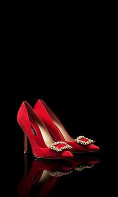 Lady in red: CH Carolina Herrera red jeweled pump