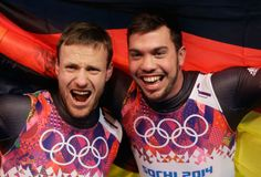 Tobias Wendl (R) and Tobias Arlt of Germany celebrate after winning the gold medal (c) Getty Images Olympic Winners, Bobsleigh, Luge, Tobias, Olympic Games, Olympics, Fit, Christmas Sweaters, Germany