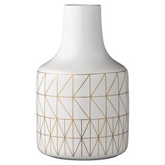 White + Gold Geometric Vase