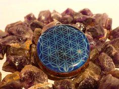 Blue Flower of Life Orgone Pendant by CosmicEnergyOrgonite on Etsy