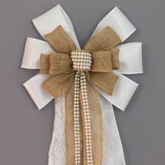 Pearl Lace Burlap White Satin Wedding Pew Bow