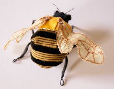 Golden Summer Bumblebee Brooch Soft Sculpture Textile Art Natural History Woodland Fashion Nature Lover Gift by BlueTerracotta on Etsy